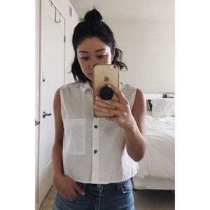 Urban Outfitters White Crop Button Down Tank